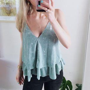 Turquoise velvet ruffle top in size medium